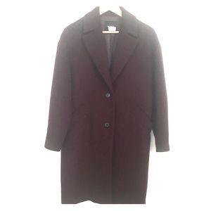 EUC Shesmiss Wool Blend Oversize Coat Burgundy